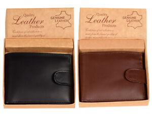 Genuine Leather Mens Black Brown Purse Bifold Credit Card Slim Wallet Coins RFID