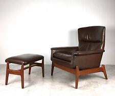 Vintage Mid Century Danish Modern Teak Dux Brown Leather Lounge Chair & Ottoman