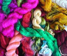 Colorful Silk Thrums, Sari Yarn Strip Bags Hemp Yarn -  500 Grams (17.5 oz)