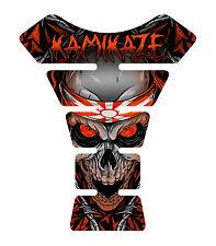 Kamikaze Orange Skull  Motorcycle Gel Gas tank pad tankpad protector Decal