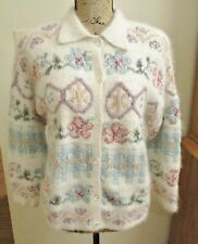 Vintage Express Tricot Womens Cardigan Sweater, Silk/Angora, White Floral Size S