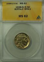 1938-D/D Buffalo Nickel 5c Coin ANACS MS-62 RPM-2 Better Coin
