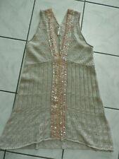 Free People Crochet Beige Dress Peach Sequin Beaded Wool Women's Large B717