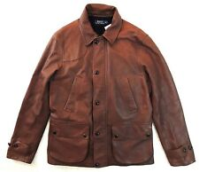 $1395 Polo Ralph Lauren Leather Lamb Shearling Italy Fur Hunting Coat Jacket M