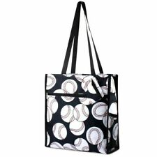 Lightweight Baseball Pattern Zip Closure Shoulder Tote Carry Bag