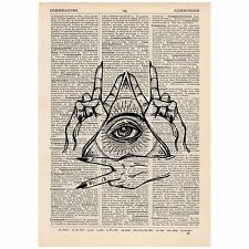 Peace All Seeing Eye Dictionary Word Art Print OOAK, Quirky, Alternative