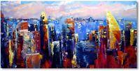 Moderne Kunst Ölmalerei Wandbild Ölgemälde Stadt Skyline Unikat Art Nr.1007
