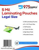 """975 Supply 5 mil. Legal Laminating Pouches. 9 x 14.5"""". Clear. 100 Pouches."""