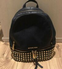 Michael Kors Navy Blue Gold Studded Leather Rhea Back Pack
