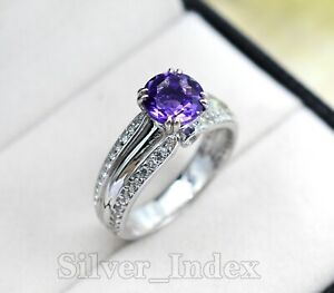 February Birthstone Natural Amethyst Gemstone 925 Solid Silver Engagement Ring