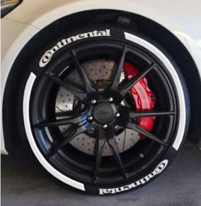 """Permanent Tire Lettering RAISED Stickers CONTINENTAL STRIPES 16""""-22"""" 8xSET 1.25"""""""
