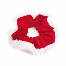 Novelty Christmas Red Velvet & White Fur Hair Scrunchie Bobble Xmas Accessories