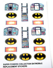 SUPER POWERS COLLECTION REPLACEMENT STICKERS for Kenner 1984 BATMOBILE x 2 SETS