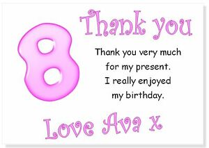 tc 10 Personalised Thank you CARDS, age 8 thanks birthday party girl girls eight