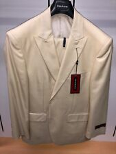 NWT Steve HARVEY 40S Ivory Creme Off-White Solid Exotic Adams Suit 2PC Fashion