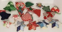 Vintage Hand Sewn Ornaments Lot Of 18 70's 80's Bells Stars Hearts