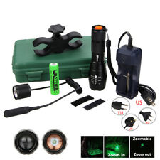 Tactical GREEN 5000Lm Q5 LED Rifle Flashlight Light Remote Switch & Scope Mount