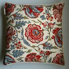 "pottery barn pillow with insert ivory floral red blue decor 20"" square"