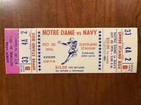 1976 Notre Dame vs Navy Full Complete Unused Ticket Cleveland Stadium