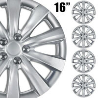 """4 pc HubCaps ABS Silver 16"""" Inch Rim Wheel Universal Cover Hub Caps Covers Cap"""