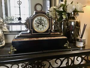 ANTIQUE  19TH CENTURY SLATE MARBLE MANTLE CLOCK.