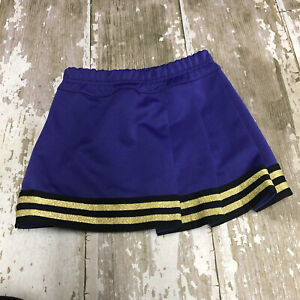 Alleson Girls' Pleated Cheer Real Cheerleading Uniform Skirt Purple Gold Black M
