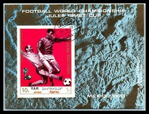 "1970 YAR / YEMEN Souvenir Sheet - Airmail - Football World Cup - Mexico ""2"" I1"