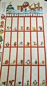 "Nutex 100% Cotton Christmas Advent Calendar Fabric Panel L 44"" x W 23"""