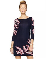 Lilly Pulitzer Size Large Poly Shift Dress Coral Jaquard Navy Sweater Dress