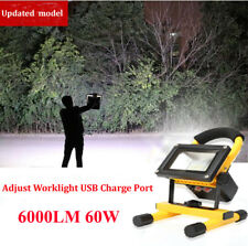 60W Portable Rechargeable LED FLOOD Work Light Flash Cordless Battery Power
