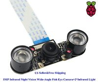5MP Infrared Night Vision Wide-Angle Fish Eye Camera+2*Infrared Light Raspberry