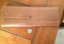 Vintage Soft Brown Leather Valet Carrying Case 13 x 5""