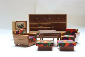 Sitzgruppe für Wohnzimmer Puppenstube Puppenhaus Möbel Vero DDR Puppenmöbel Holz