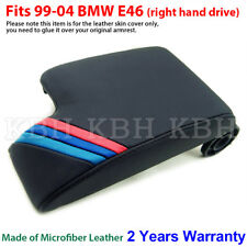 Leather Armrest Console Lid Cover for BMW E46 3 Series 99-04 Black M Stripes RHD