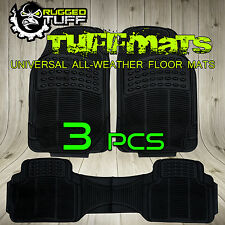 RUGGED TUFF FLOOR MATS NEW BLACK 3 PCS UNIVERSAL TRIM CUT ALL WEATHER HEAVY DUTY