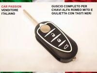 GUSCIO CHIAVE ALFA ROMEO GIULIETTA MITO 3 TASTI NERI TELECOMANDO KEY SHELL COVER