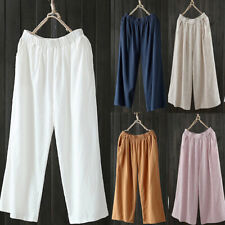 Women Baggy High Waist Wide Leg Culottes Home Linen Trousers Ladies Loose Pants