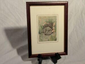 Cash's Woven Silk Picture - hedgehog or muskrat? EUC