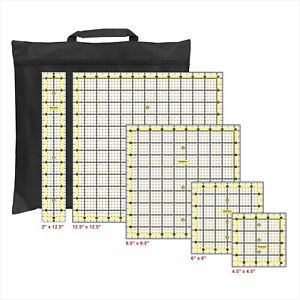 Liquidraw Quilting Ruler Set of 5 Clear Acrylic Quilting Rulers Template & Bag