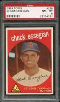 1959 Topps BB Card #278 Chuck Essegian St. Louis Cardinals PSA NM-MT 8 !!!