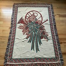 """Holiday Christmas French Horn Wreath Tapestry Throw Blanket 64""""x 42"""""""