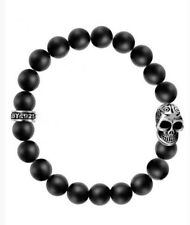 King Baby Studio 10mm Onyx Bead Bracelet W/ Day Of The Dead Skull SZ Fits 8/9inc