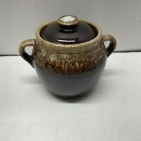 Vintage Brown Drip Glaze Footed Ceramic Cauldron Pot With Lid & Handle USA