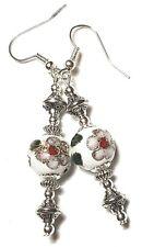 Long Silver White Cloisonne Earrings Drop Dangle Pierced Hook