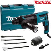Makita HR2630 SDS+ 3 Mode Rotary Hammer Drill Extra Chisels & Keyless Chuck 240V