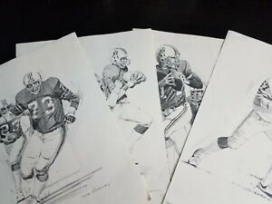 LOT OF VINTAGE NEW ENGLAND PATRIOTS SHELL OIL LITHOGRAPHS 1981 GROGAN HANNA
