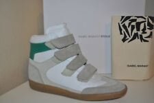 NIB Isabel Marant Etoile BILSY Leather Hidden Wedge Sneaker Beige Khaki Green 38