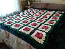 "Vtg Handmade Pink Roses Crochet Afghan Throw 55"" x 50""  Granny Squares"