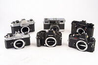 Lot of 6 Vintage SLR Film Cameras Ricoh Topcon Fujica for PARTS REPAIR V11