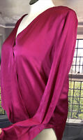 Dkny XL Pink NWT Surplice Blouse crossed over front bright Pink high low hem !